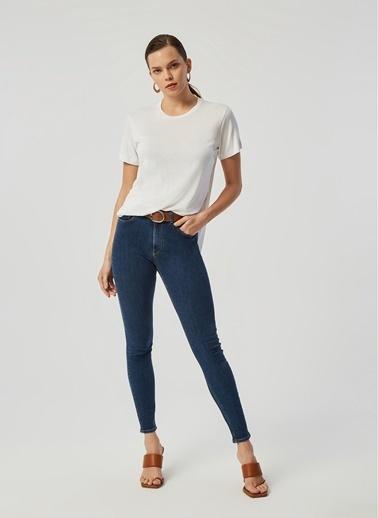 Monamoda Yüksek Bel Skinny Likralı Jean Pantolon Lacivert